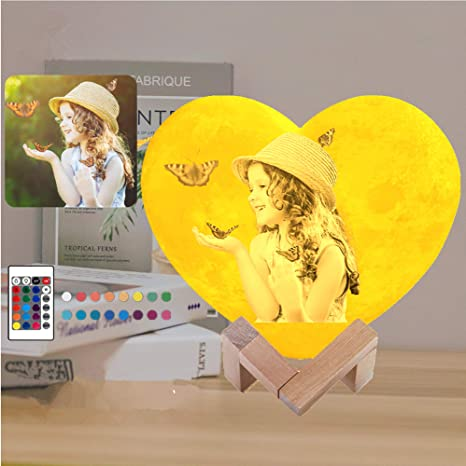 Personalized Moon Night light Lamp 3D Printed Custom Photo USB Charging Touch