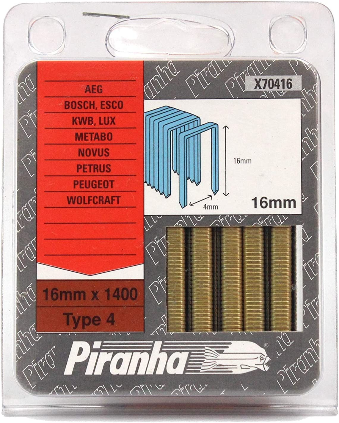 Metabo Piranha X70416/type 4/agrafes 16/mm Bosch Ptk19e Ptk28e Lux Novus 5/packs AEG Powertac 19