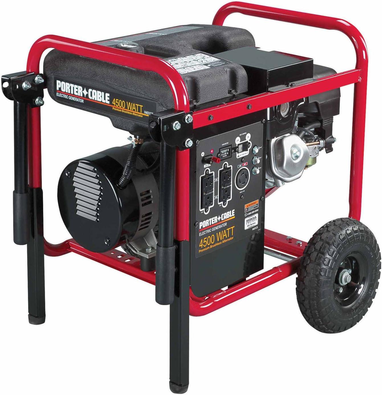 Porter-Cable H451CS-W 4,500-Watt 9 HP Portable Generator with Honda Engine and Wheel Kit