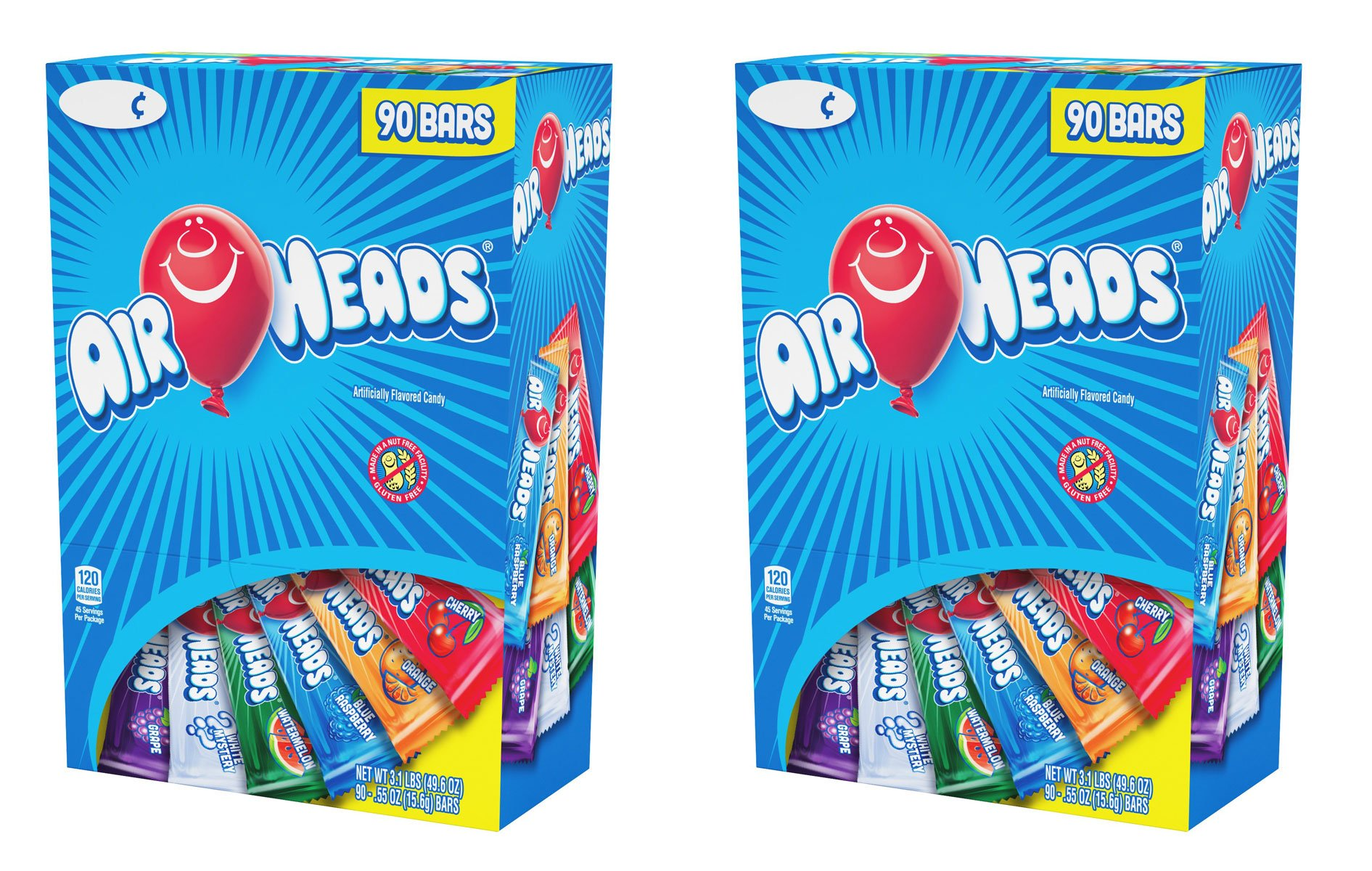 Airheads Chewy Fruit Candy, stocking stuffer, Variety Pack, 90 Count, 3.1lbs, 2 Pack
