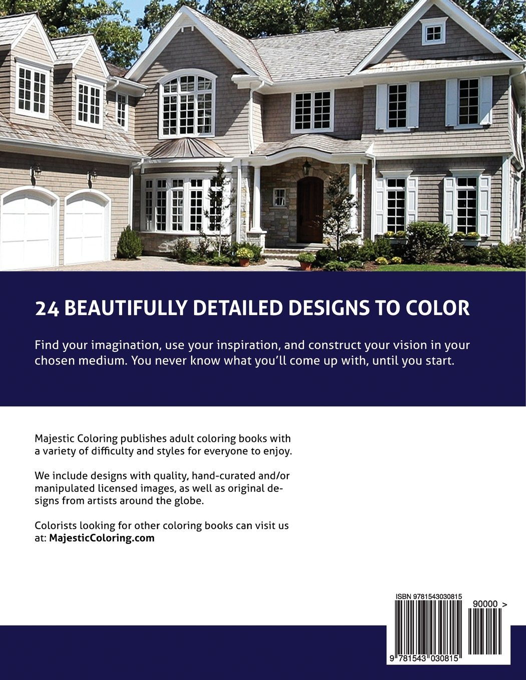 Coloring book real estate - Amazing Homes Grayscale Coloring Book For Adults Majestic Coloring 9781543030815 Amazon Com Books