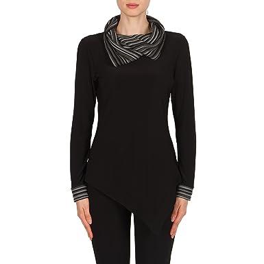 1c42cd3a052 Joseph Ribkoff Cowl Neck Jersey Asymmetric Tunic Style 174921 - Black -:  Amazon.co.uk: Clothing
