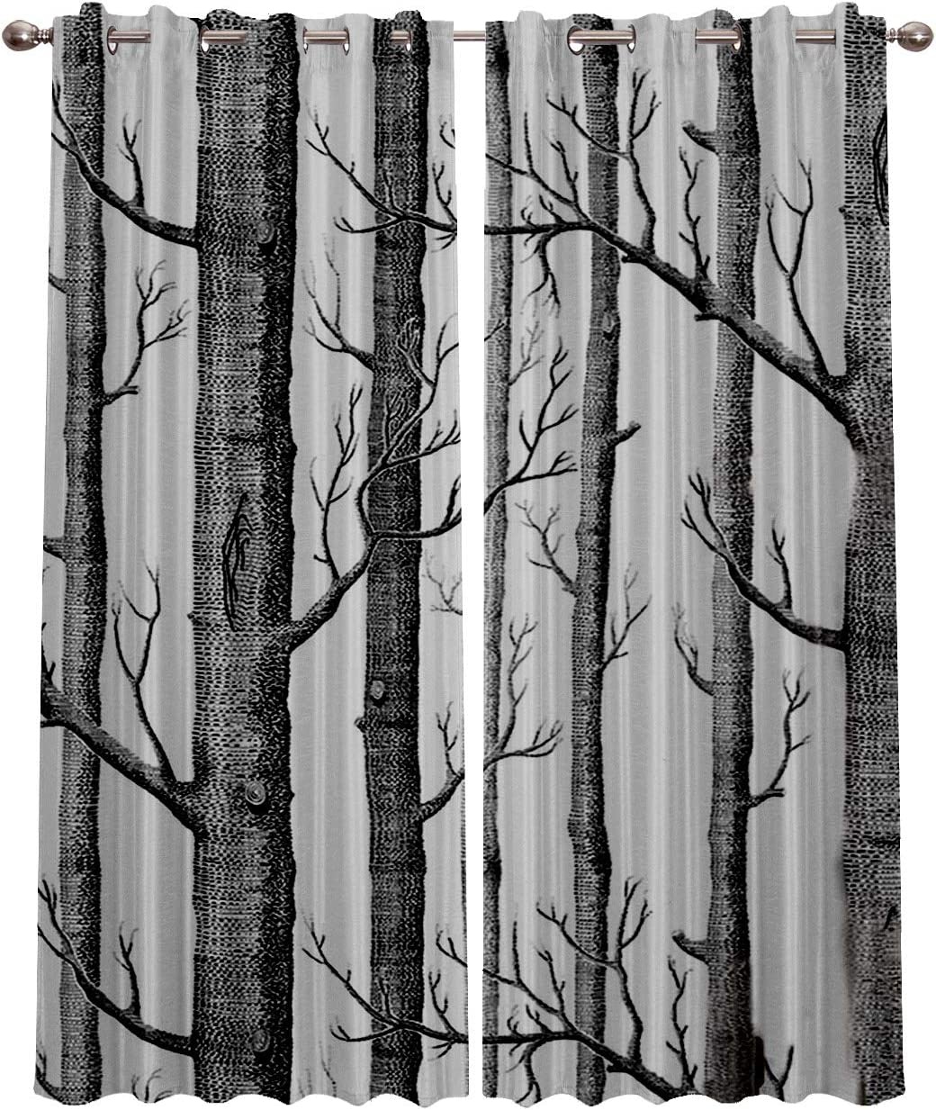 Blackout Curtain Panels Window Draperies for Living Room Bedroom Kitchen, Insulating Room Darkening Grommet Window Treatments, White Birch Forest Old Branches Tree Grey 52 x 96 Inch, 2 Panel