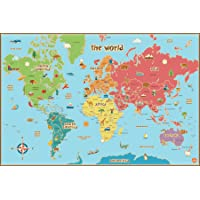 Deals on Wall Pops WPE0624 Kids World Dry Erase Map Decal Wall Decals
