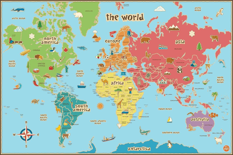 Cartina Geografica Dell Italia Per Bambini.Wallpops Cartina Geografica Del Mondo Per Bambini Autoadesiva