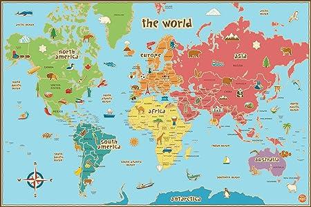 Cartina Geografica Mondo Con Nomi.Wallpops Cartina Geografica Del Mondo Per Bambini Autoadesiva