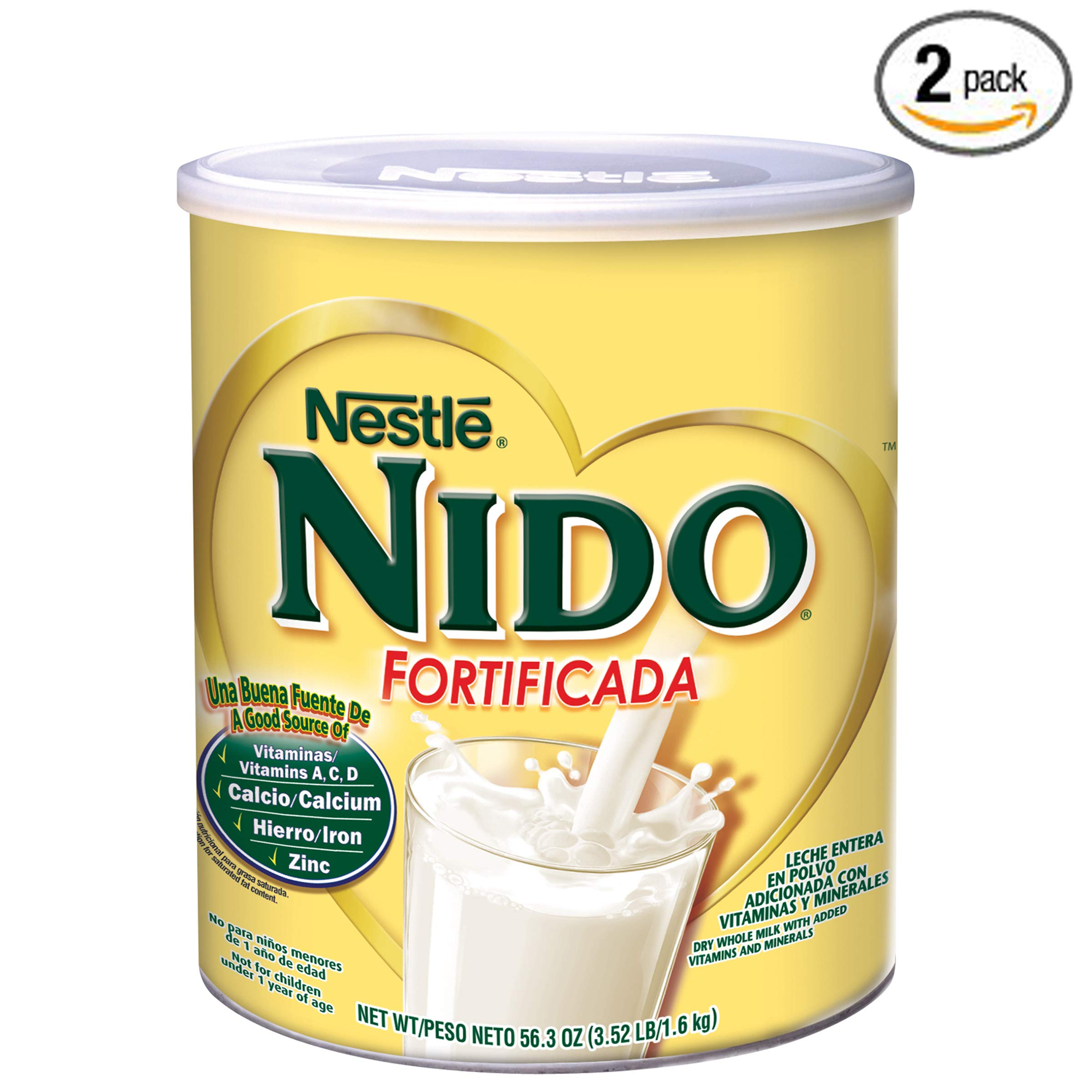 NIDO Fortificada Dry Milk 56.3 oz. Canister, Pack of 2