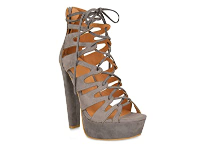 737bb65782f Chockers Shoes® Womens Ladies Lace Up Ankle High Heeled Gladiator Sandals  Platform Shoe Sizes 3-8  Amazon.co.uk  Shoes   Bags