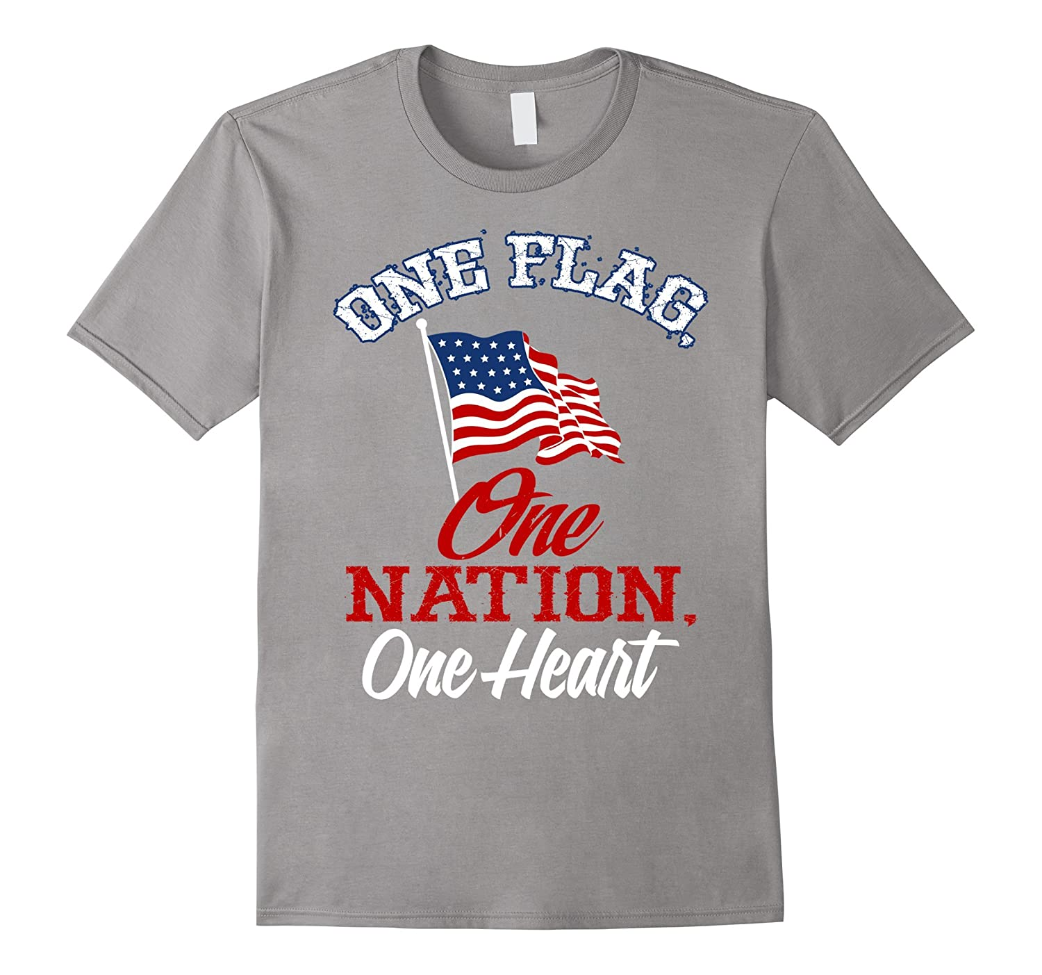 One Flag, One Nation,One Heart American Flag Graphic T shirt-Art