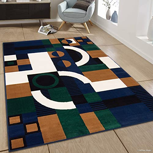 Allstar 8×11 Navy Blue and Hunter Green Modern and Contemporary Rectangular Accent Rug with Ivory and Mocha Geometric Abstract Design 7 6 x 10 5