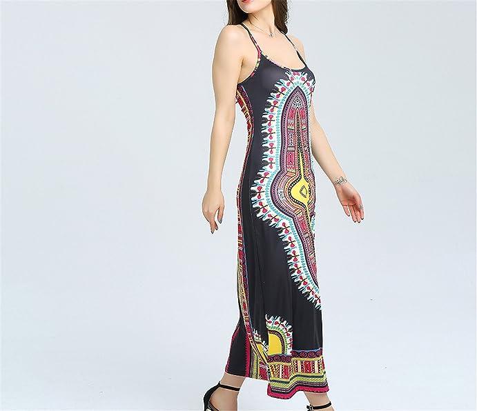 Amazon.com: Eloise Isabel Fashion Mulheres Impressão Tradicional roupas Das Senhoras Sem Mangas Magro Elegante Vestido Maxi plus size: Clothing