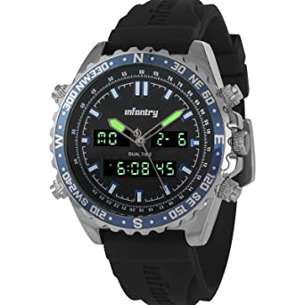 83dd06aefcac Infantry Mens Analogue - Digital Wrist Watch Chronograph Date Alarm Silver  Sport Rubber Strap  Amazon.co.uk  Watches