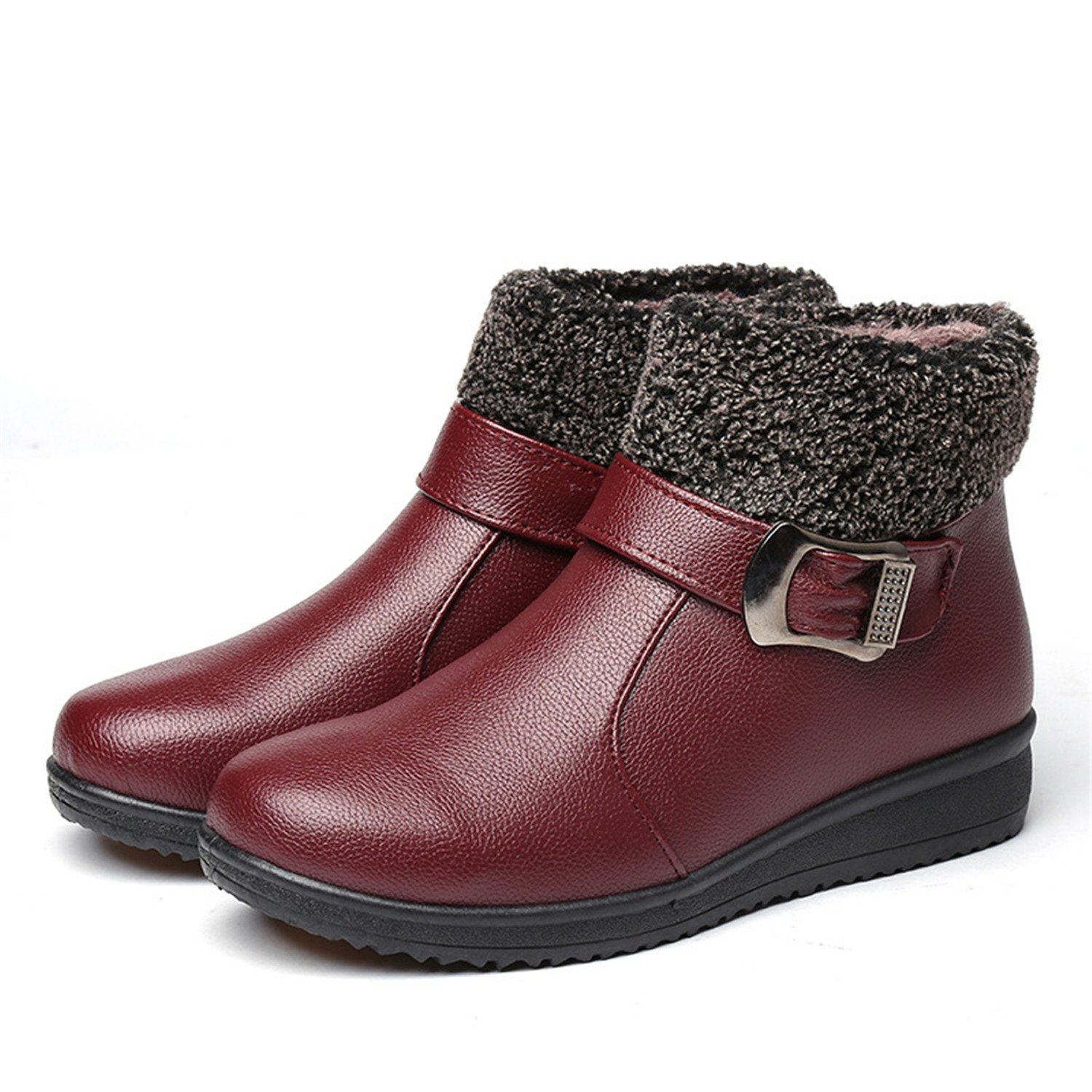 Better Annie Women Winter Boots Female Zip Ankle Shoes Boots Waterproof Warm Snow Boots Ladies Leather Shoes Ankle Woman Fur Botas Mujer Size 35-40 B077NF6QR7 Boots e7128d