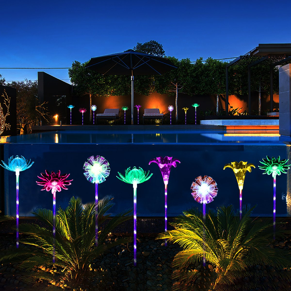 YUNLIGHTS 4pcs Solar Garden Lights Outdoor Garden Stake Lights Multi-Color Changing LED Solar Lights with Purple LED Light Stake for Garden Patio Backyard Decoration (Lotus,Dandelion,Lily,Sunflower) by YUNLIGHTS (Image #3)