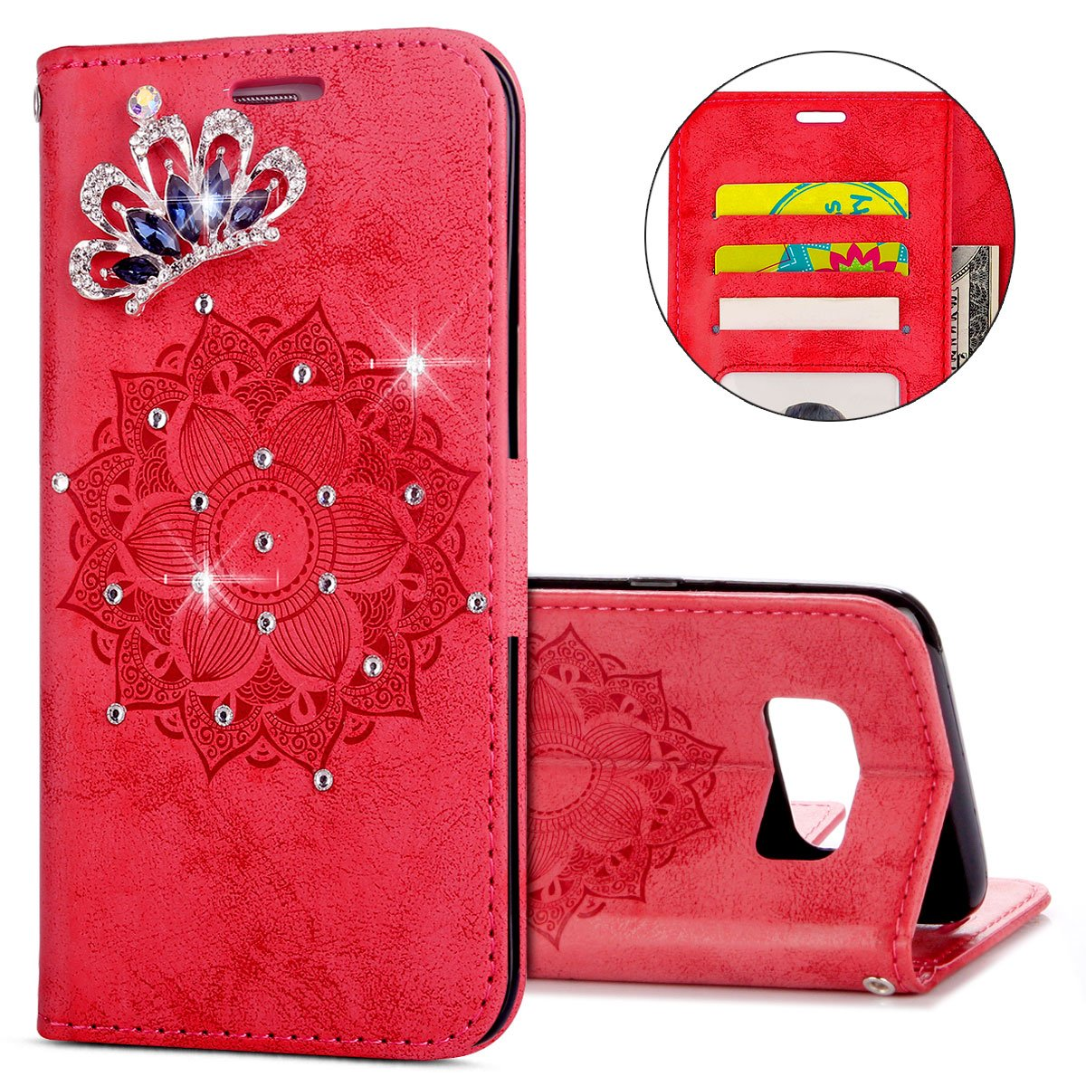IKASEFU Galaxy S8 Plus Case,3D Clear Crown Rhinestone Diamond Bling Glitter Wallet with Card Holder Emboss Mandala Floral Pu Leather Magnetic Flip Protective Cover for Samsung Galaxy S8 Plus,Red