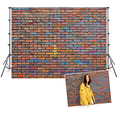 7x5 Ft Seamless Microfiber Colorful Graffiti Brick Wall Photography Backdrops 1950 S Vintage Photo Booth Prop Background For Picture
