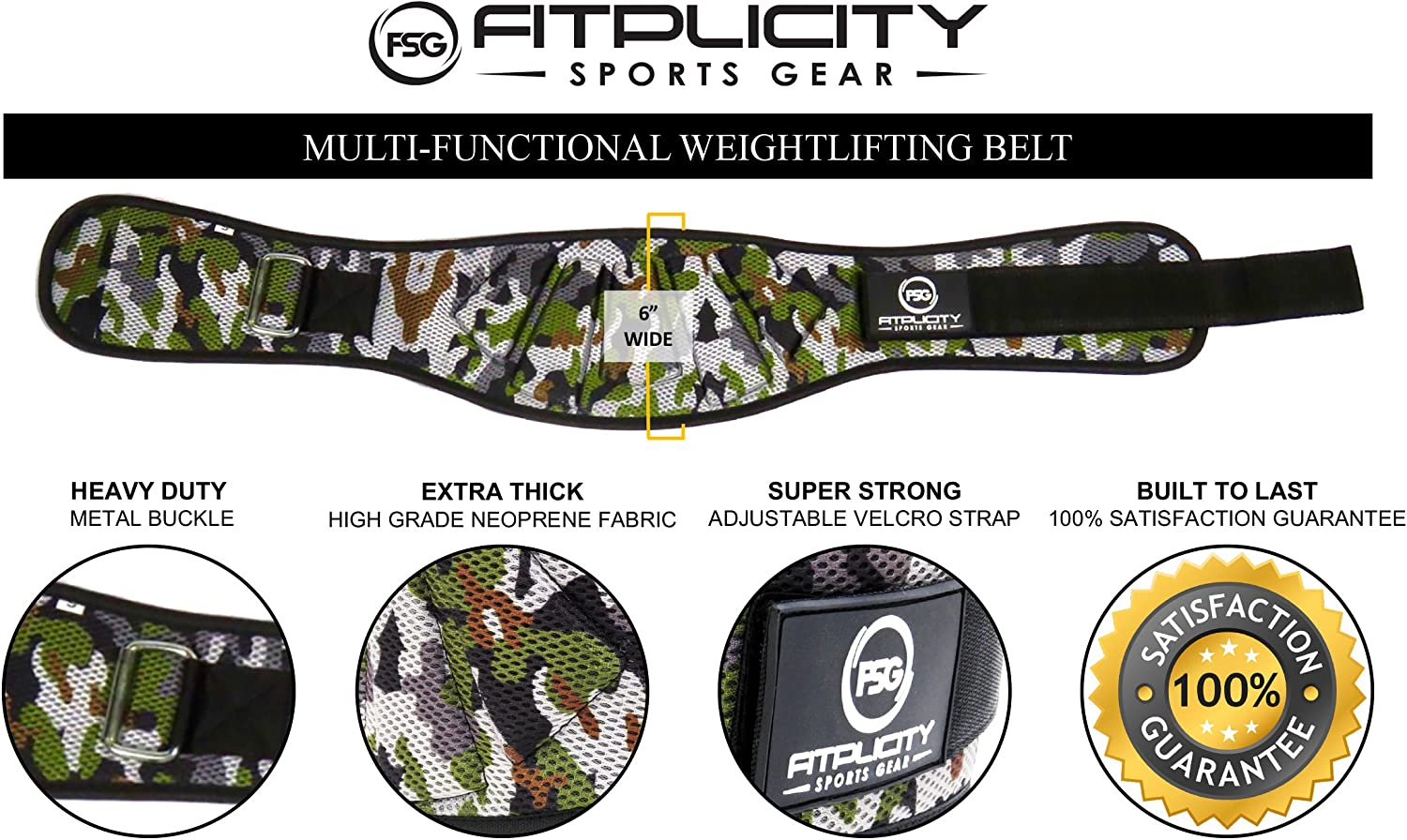 Fitness Workout Back Support for Lifting Cross Training and Powerlifitng Fitplicity Sports Gear Weightlifting Belt for Men and Women 6 Inch Weight Lifting Belt