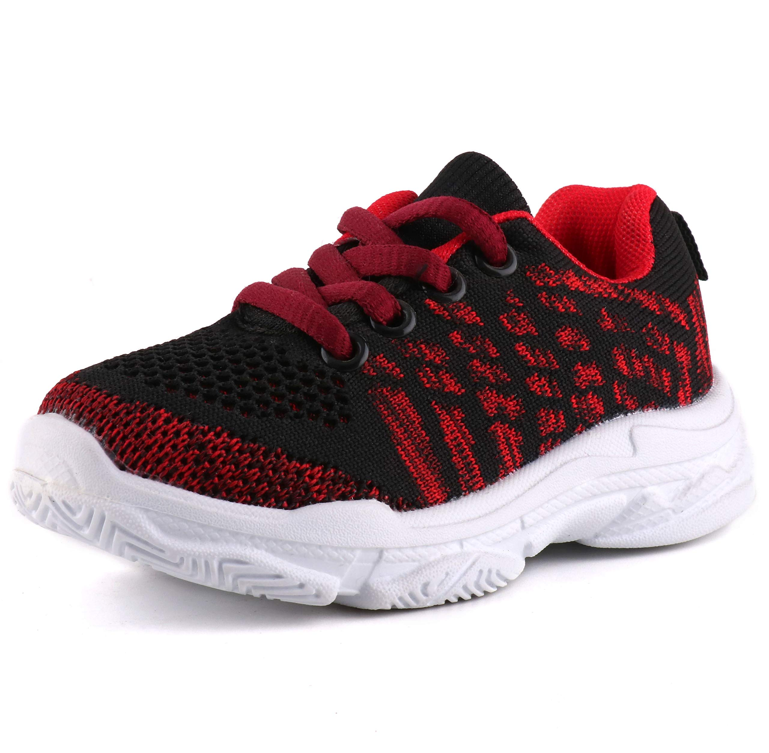 Moceen Kids Fashion Sneakers Ultra Lightweight Knit Breathable Athletic Running Walking Casual Shoes for Boys Girls,Red,8201 CN29