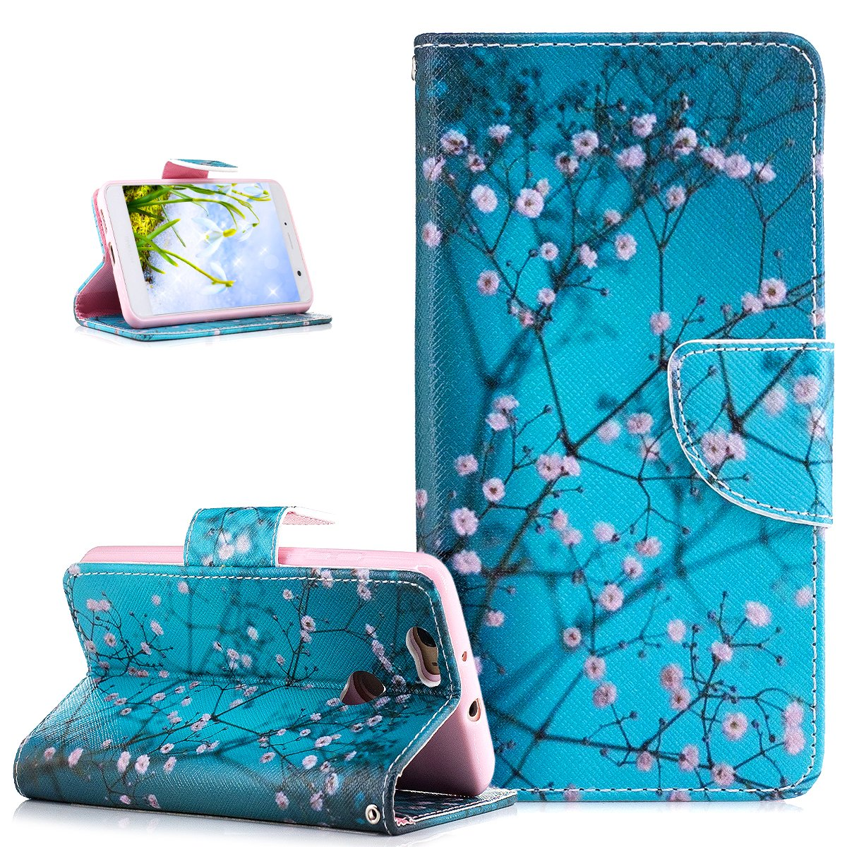 Huawei Nova Case, Huawei Nova Cover, ikasus Colorful Painted Flower Butterfly Pattern PU Leather Flip Fold Wallet Pouch Stand Credit Card ID Holders Case Cover for Huawei Nova, Blue Plum Blossom