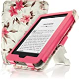 iGadgitz Premium Pink on Cream Floral PU Leather Case Cover for New Amazon Kindle 2014 (Touchscreen) 7th Generation with…