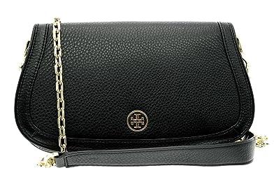 ca4f3c663937 Tory Burch Landon Logo Chain Clutch Leather Black  Handbags  Amazon.com