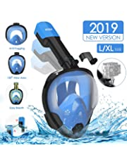 AGM Snorkel Mask Full Face with 180° Panoramic View Free, Snorkeling Mask Dry Top Set Anti-fog Anti-leak for Adult and Kids