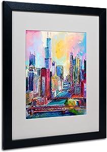 Chicago 3 Artwork by Richard Wallich, 16 by 20-Inch, Black Frame