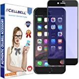 CELLBELL® Tempered Glass Screen Protector For Apple iPhone 6 (ANTI BLUE) (EDGE TO EDGE) (BLACK) With FREE Installation Kit