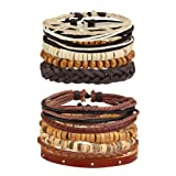 Amazon Price History for:Jusnova 5-12 Pcs Leather Bracelet for Men Women Wooden Beaded Bracelets Cuff Adjustable