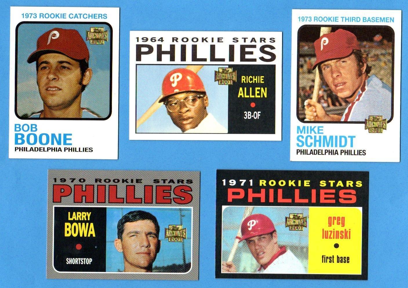 Philadelphia Phillies 5 Card Topps Rookie Reprint Lot 1