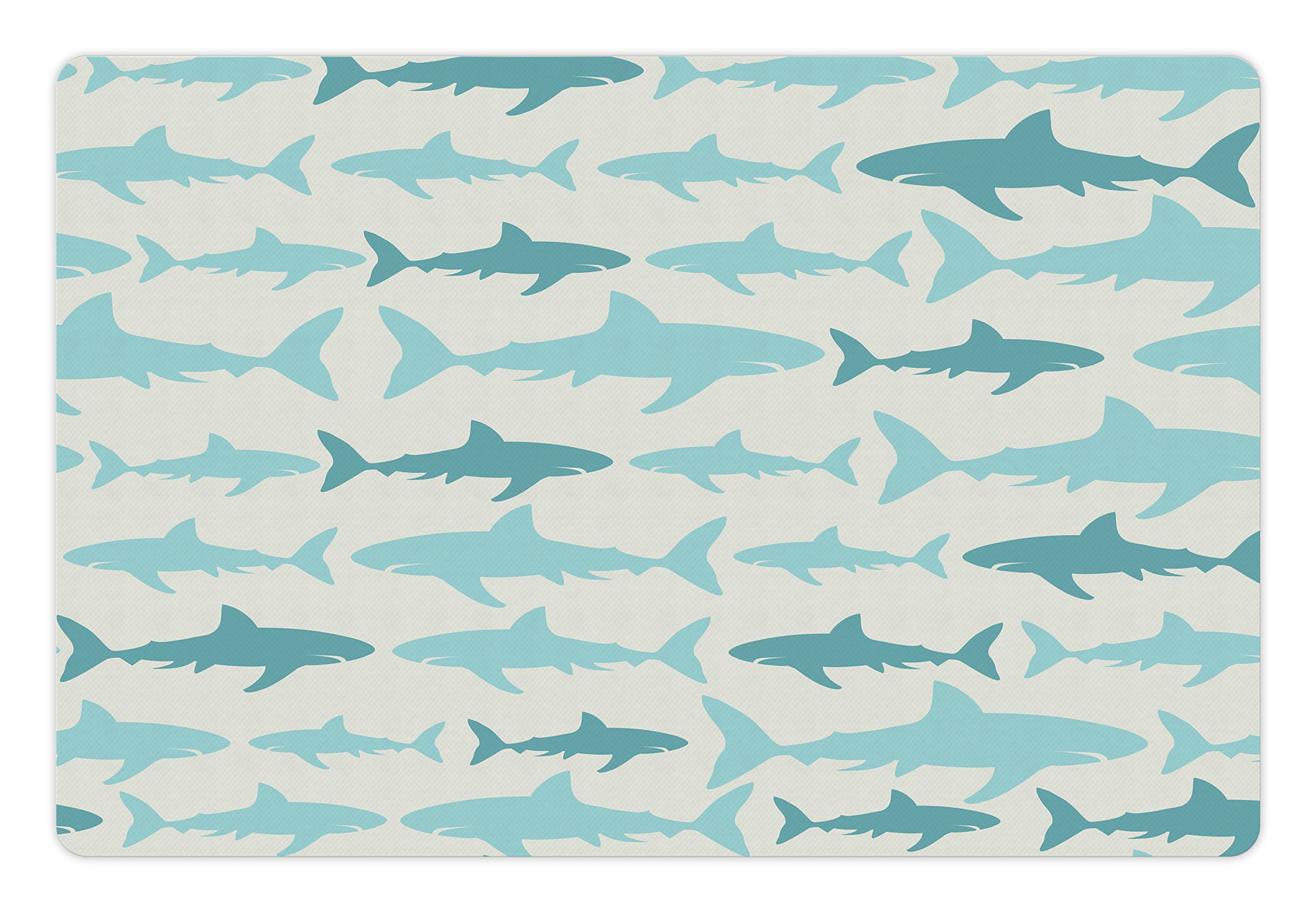 Ambesonne Sea Animals Pet Mat for Food and Water, Monochrome Shark Illustration Fashion Maritime Illustration Aquatics, Rectangle Non-Slip Rubber Mat for Dogs and Cats, Teal Turquoise Beige