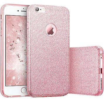 6f5a8ed0a7d Coovertify Funda Purpurina Brillante Rosa iPhone 6/6S, Carcasa resistente  de gel silicona con