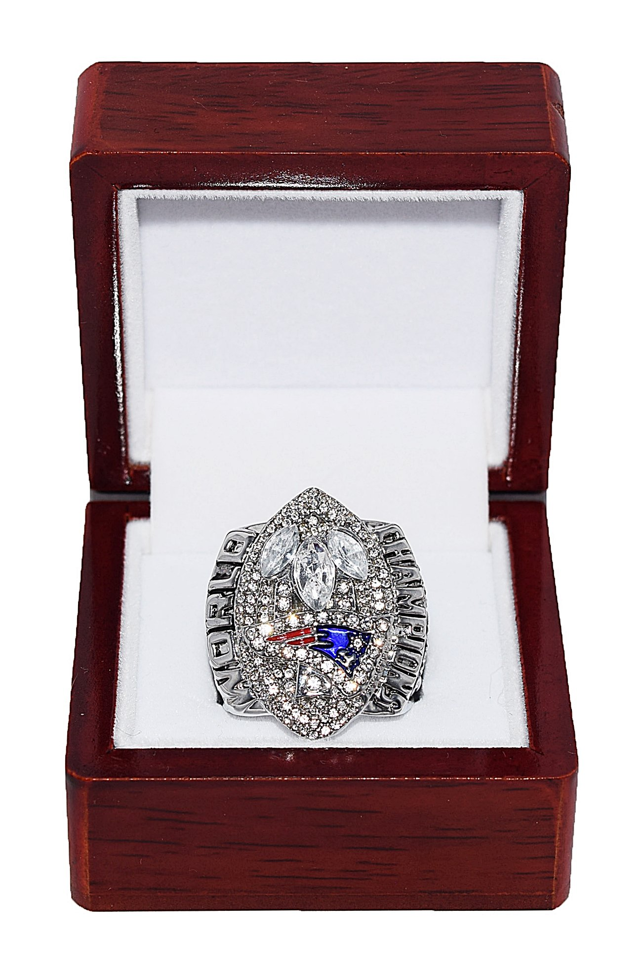 NEW ENGLAND PATRIOTS (Tom Brady) 2004 SUPER BOWL XXXIX WORLD CHAMPIONS (Back to Back Wins) Rare & Collectible High Quality Replica NFL Football Silver Championship Ring with Cherrywood Display Box