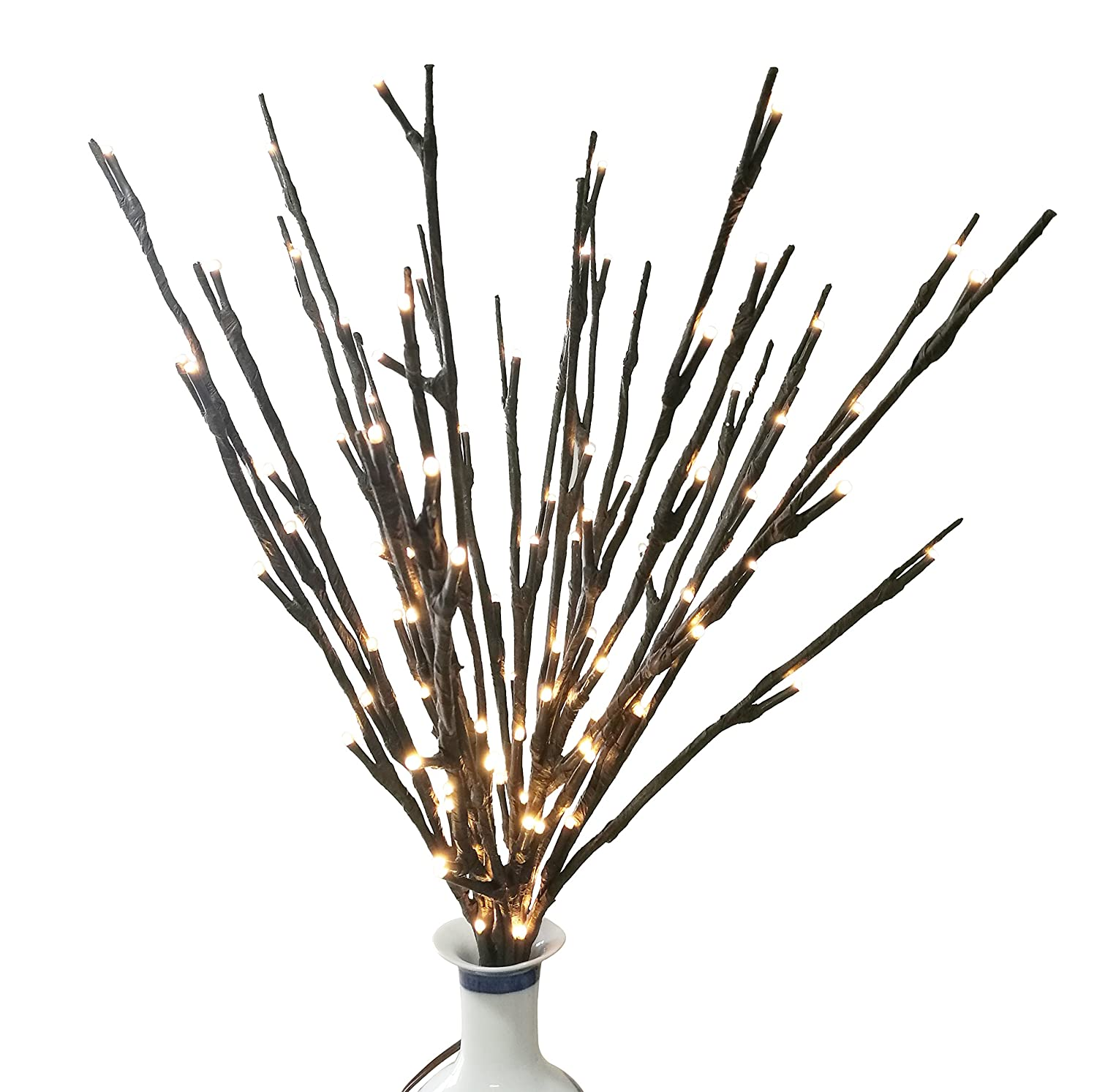 BABALI Lighted Twig Branches 20 Inches 100 Led Battery and Electric/Corded  Dual Power Decorative Branches Artificial Willow White Lighting Branch ...