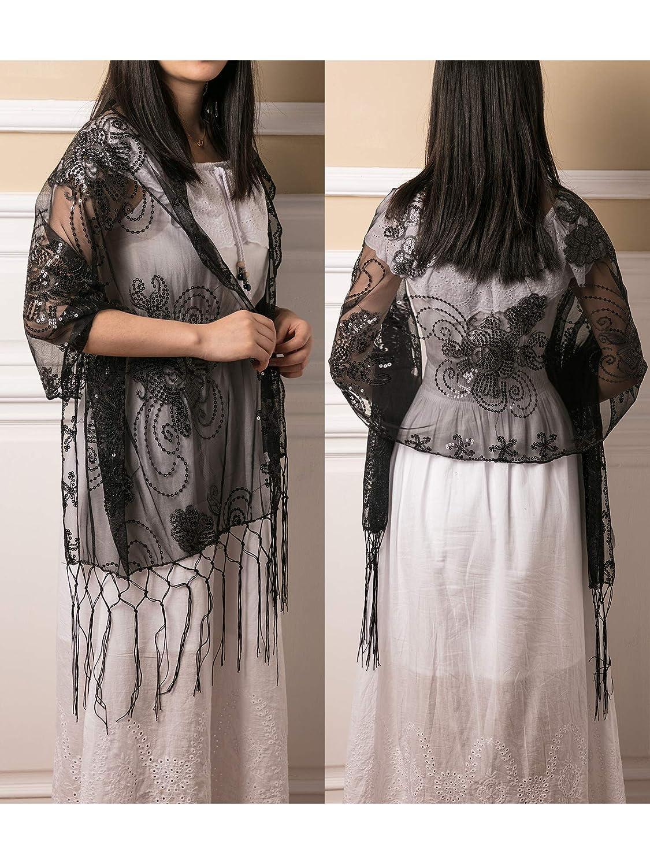 a62284afd1f 2 Pièces Soirée Châle Paillette Cape Châle avec Gland Echarpe Femme Années  1920 pour Robe de ...