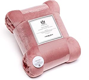 Kingole Flannel Fleece Microfiber Throw Blanket, Luxury Rose Pink Travel/Throw Size Light Weight Cozy Couch Bed Super Soft and Warm Plush Solid Color 250GSM (50 x 60 inches)