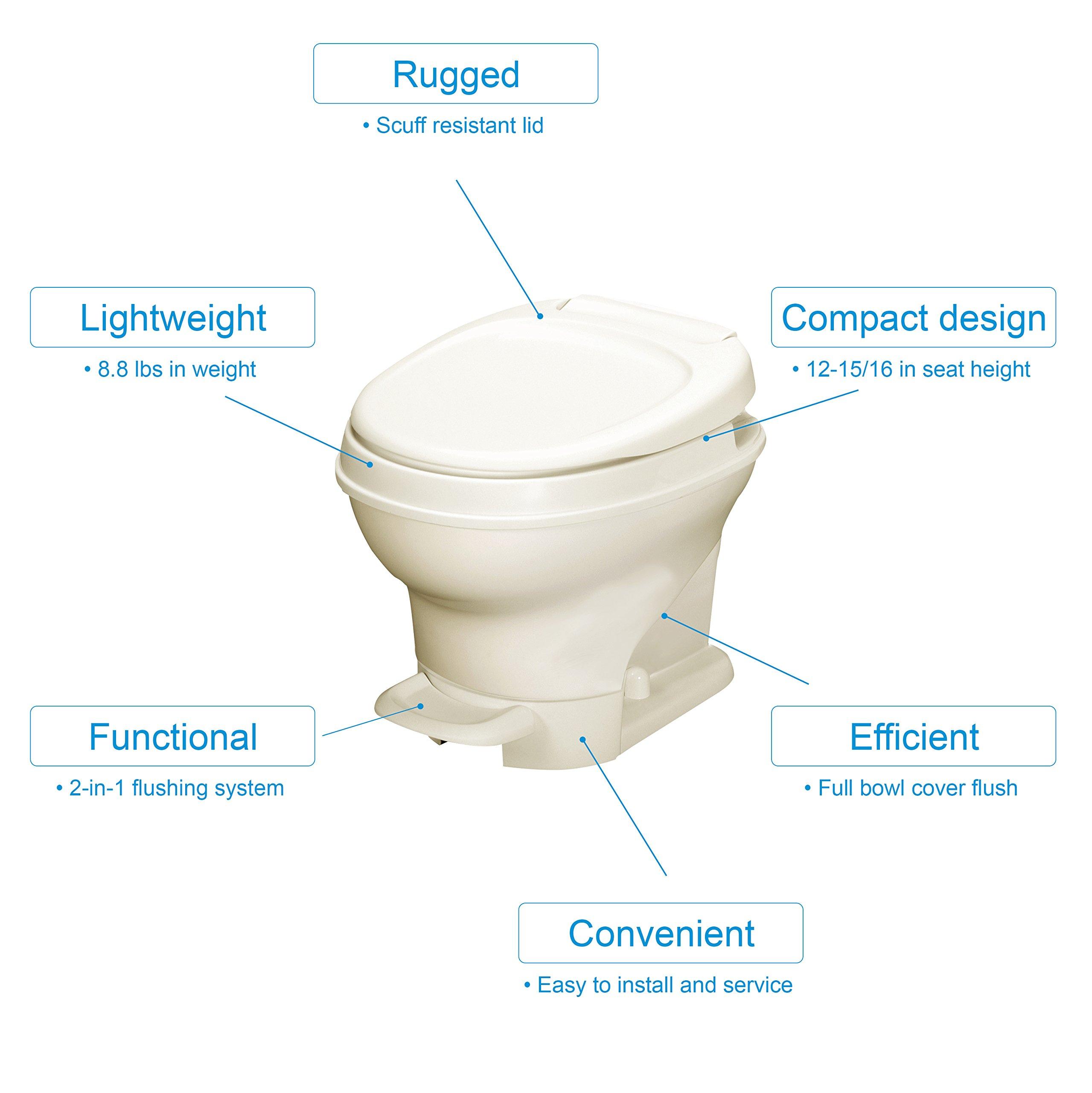 Thetford 31651 Parchment Aqua Magic V RV Toilet Pedal Flush-Low Profile-White Color-Thetford-31650 by Thetford (Image #1)