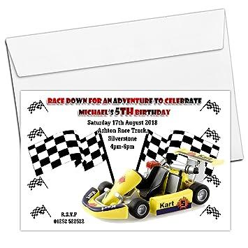 10 Personalised Boys Girls Go Kart Karting Birthday Party