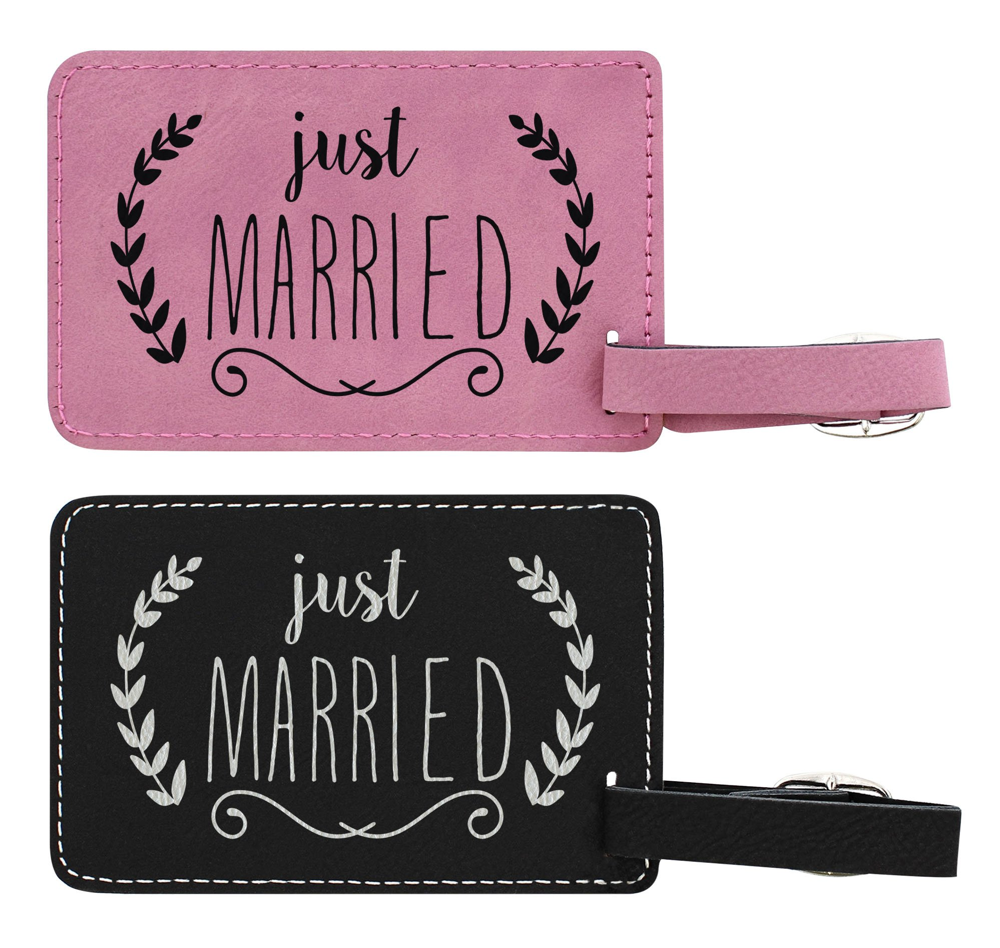 Honeymoon Gifts Just Married Tags 2-pack Laser Engraved Leather Customized Luggage Tags Pink & Black by ThisWear