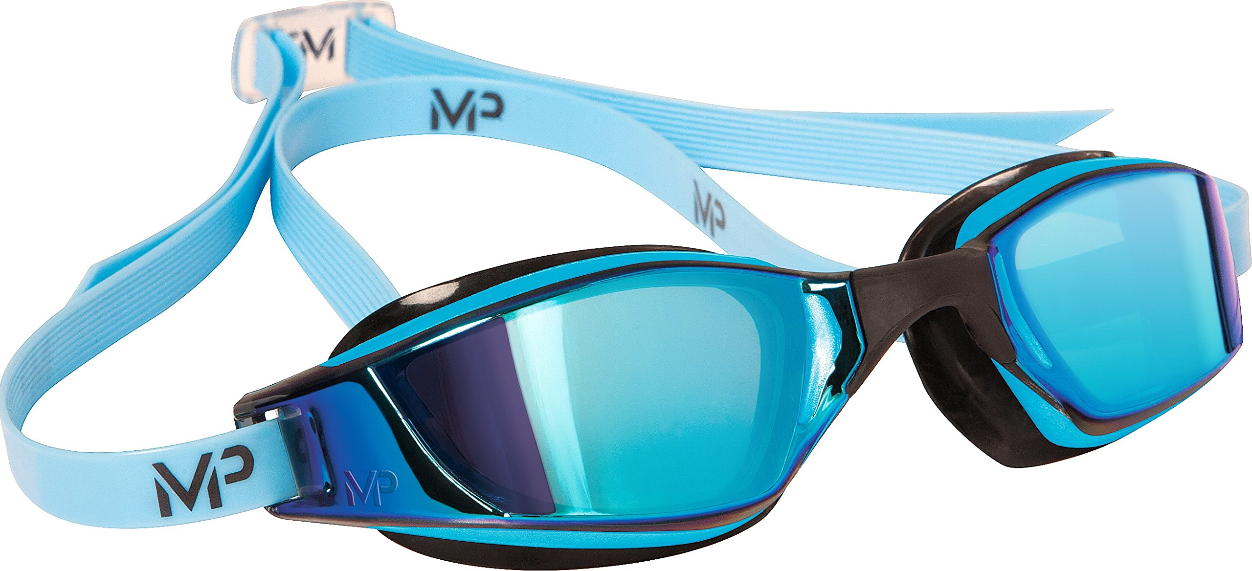 MP Michael Phelps XCEED Swimming Goggles, Mirrored Lens, Blue/Black Frame