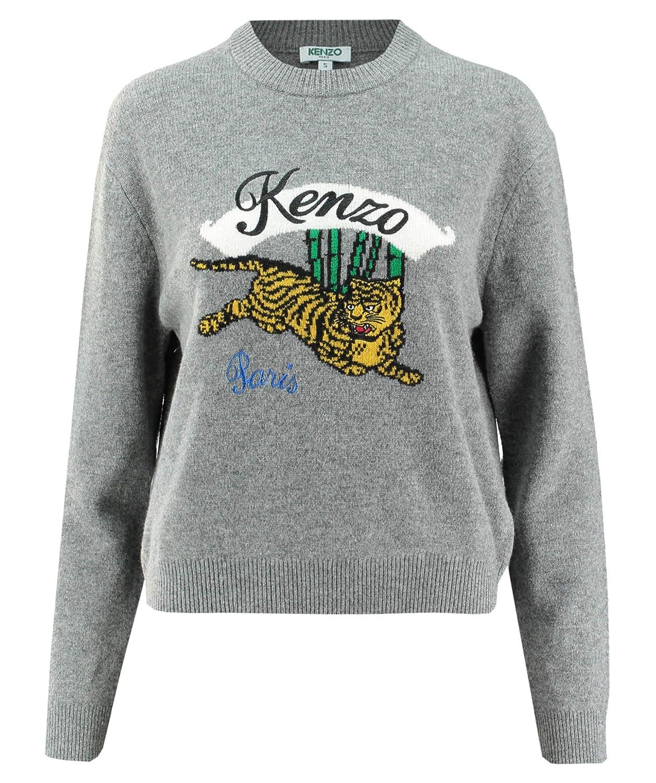 c884a9710a Kenzo Women's Jumping Tiger Grey Wool Jumper M(INT) Grey: Amazon.co ...