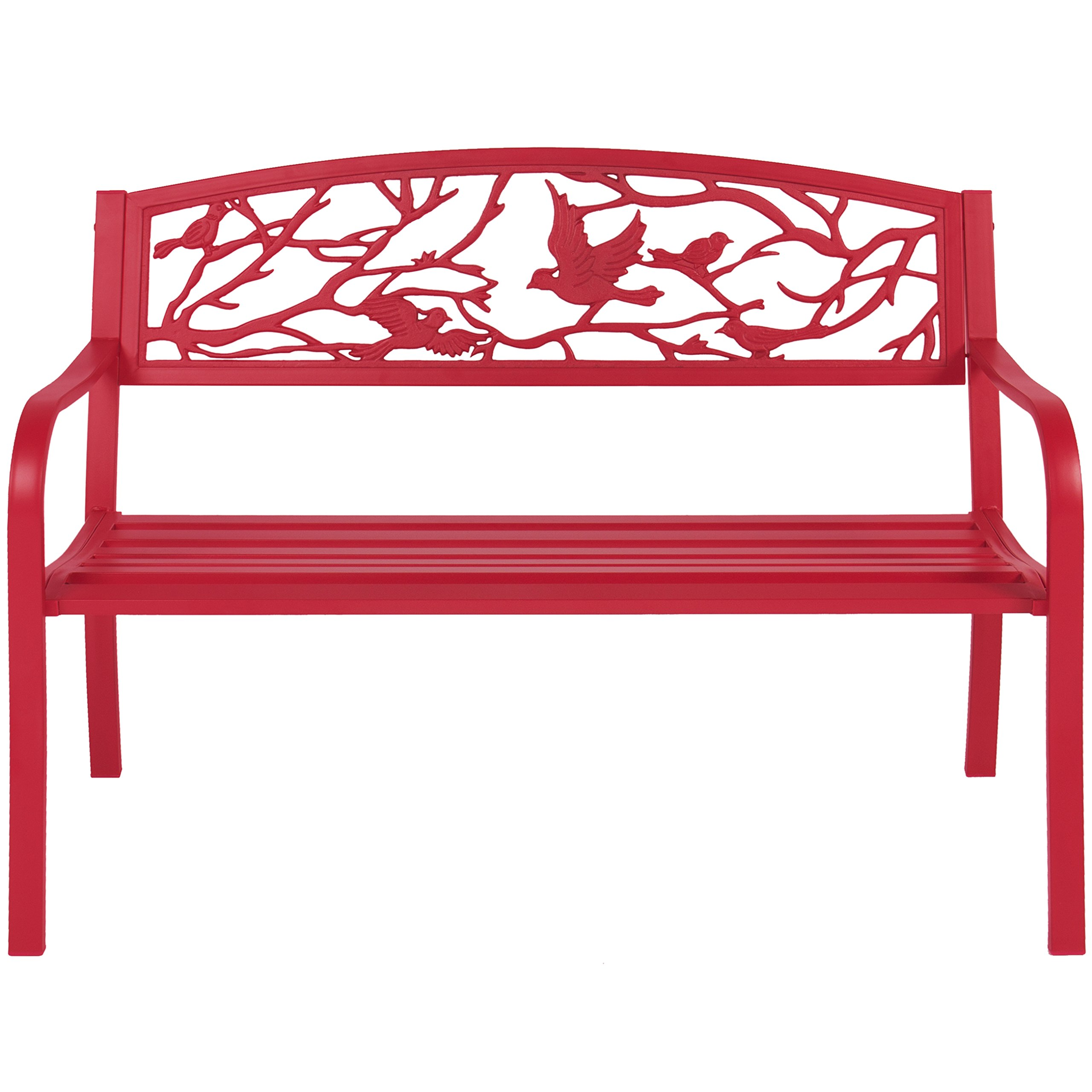 Best Choice Products Steel Park Bench Porch Furniture for Outdoor, Garden, Patio - Red by Best Choice Products (Image #2)