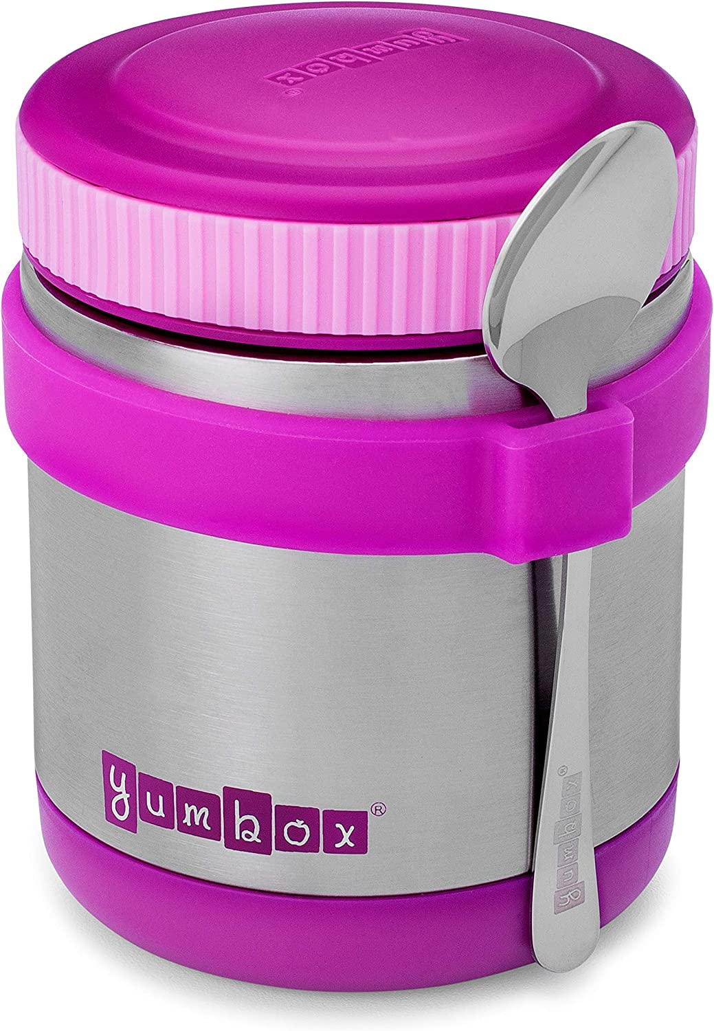 Yumbox Zuppa - Wide Mouth Thermal Food Jar 14 oz. (1.75 cups) with a removable utensil band - Triple Insulated Stainless Steel - Stays Hot 6 Hours or Cold for 12 Hours - Leak Proof - in Bijoux Purple