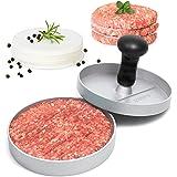 GOURMEO presse à burger premium avec 30 feuilles antiadhésive, en fonte d'aluminium avec revêtement antiadhésif | 2 ans de garantie de satisfaction | presse pour hamburger, burger maker