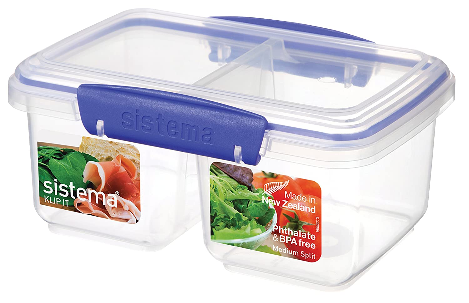 Sistema KLIP IT Rectangular Collection Split Food Storage Container, Small, 11.8 oz./0.3 L, Clear/Blue, 3 Count 1513ZS