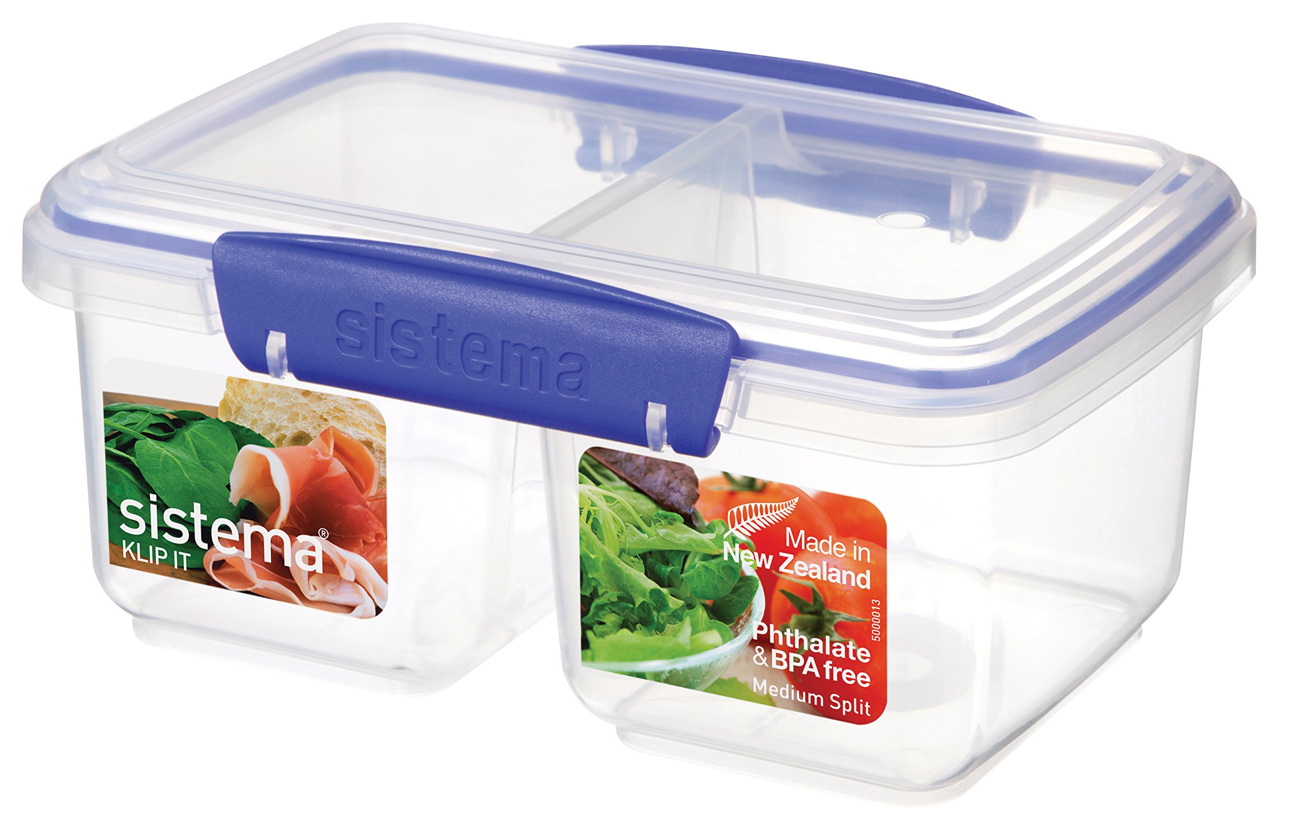 Sistema KLIP IT Rectangular Collection Split Food Storage Container, Medium, 33.8 oz./1.0 L, Clear/Blue