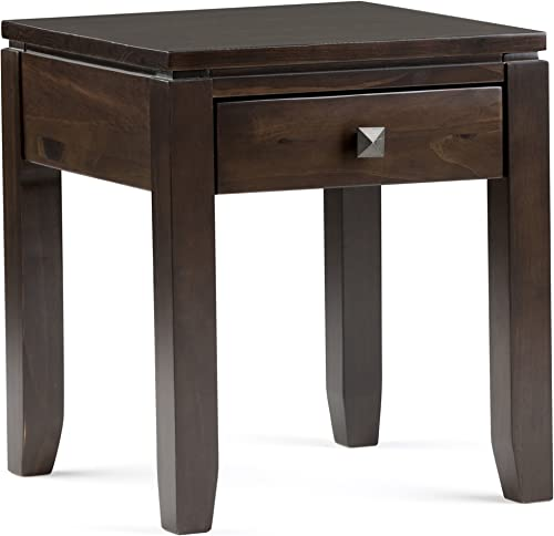 SIMPLIHOME Cosmopolitan SOLID WOOD 18 inch wide Square Contemporary End Side Table