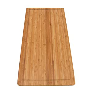 "BambooMN Brand Bamboo Burner Cover/Cutting Board for Viking Cooktops, New Vertical Cut, Large, Extra Long (23""x11.78""x0.75"")"