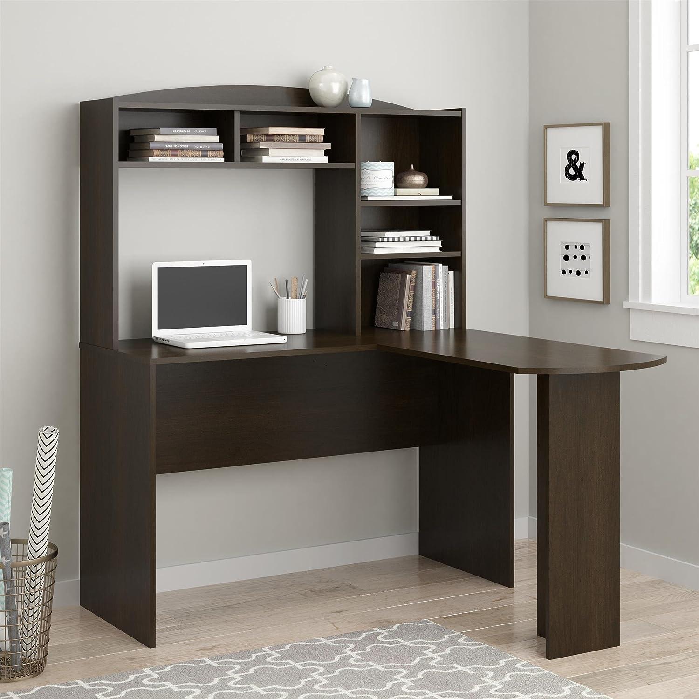 Amazon.com: Altra Furniture Dakota Space Saving L Desk With Hutch, Dark  Russet Cherry: Kitchen U0026 Dining