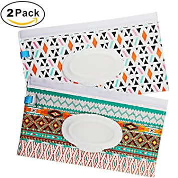 2 pack Great for Travel Eco Friendly Wipe Pouches Reusable Wet Wipe Pouch Dispenser,Keeps Wipes Moist,for Baby or Personal Wipes